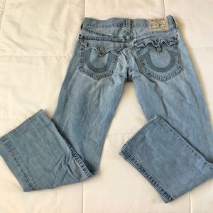 True religion distressed light wash jeans